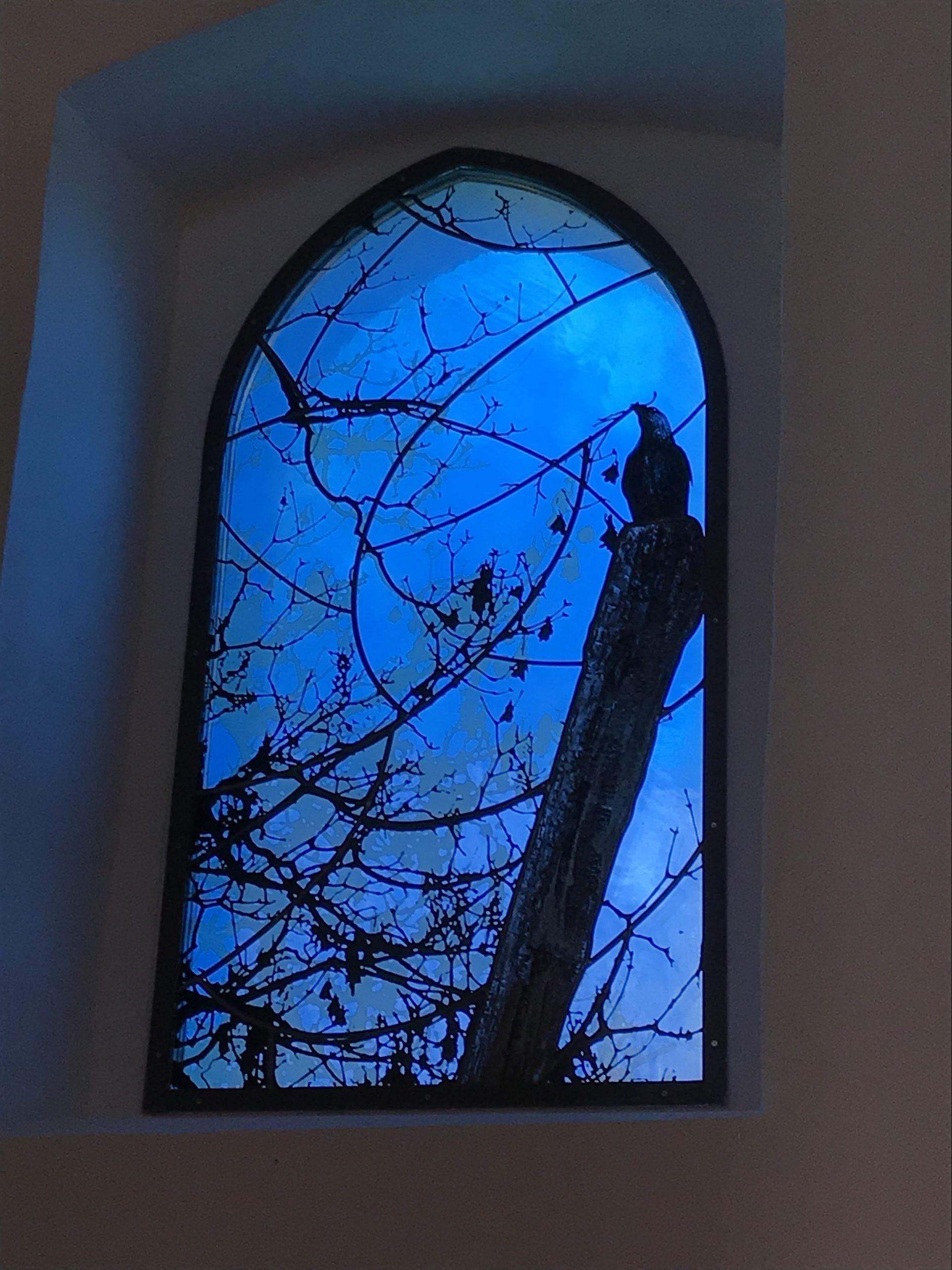 Detail eines Fensters der Kirchenburg Walldorf, Künstler Julian Plodek