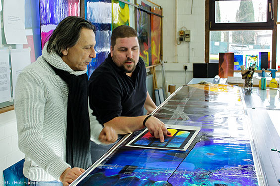 René Blättermann in den DERIX GLASSTUDIOS - Projektbesprechung