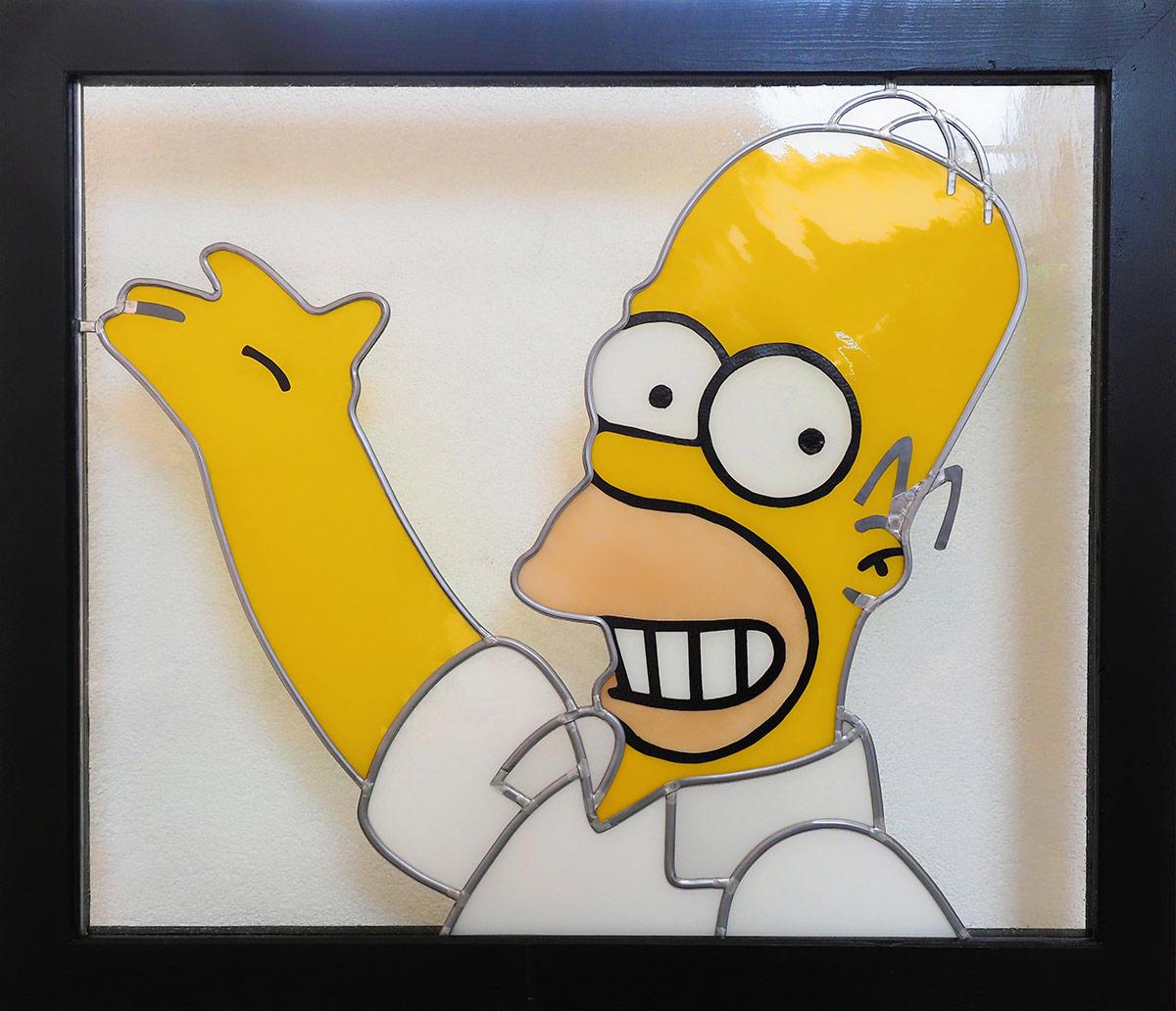 Homer Simpson Glasmalerei von Johannes Gesellen 2020